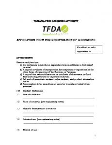 APPLICATION FORM FOR REGISTRATION OF A COSMETIC