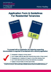 Application Form & Guidelines For Residential Tenancies