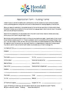 Application Form Nursing Home