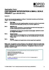 Application form: PARTNERSHIP INTERVENTION & SMALL SCALE PROJECT (up to DKK.)