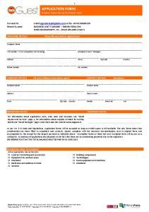 APPLICATION FORM RIMINI FIERA OCTOBER 2015