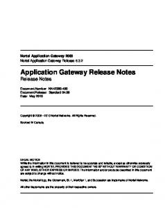 Application Gateway Release Notes Release Notes