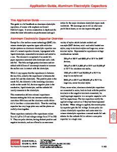 Application Guide, Aluminum Electrolytic Capacitors