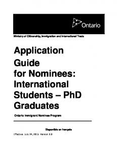 Application Guide for Nominees: International Students PhD Graduates