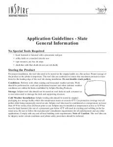 Application Guidelines - Slate General Information