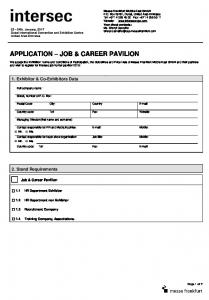 APPLICATION JOB & CAREER PAVILION