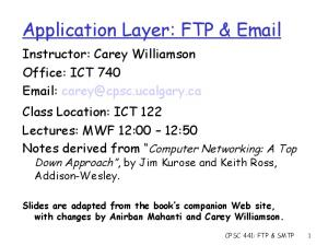 Application Layer: FTP &