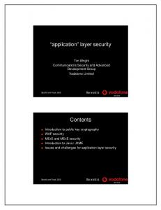 application layer security Contents