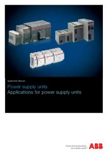 Application Manual. Power supply units Applications for power supply units