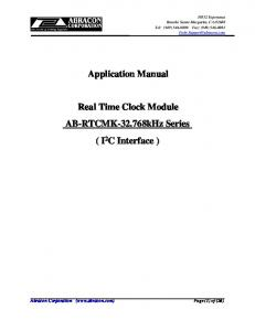 Application Manual. Real Time Clock Module