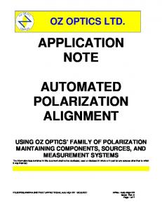 APPLICATION NOTE AUTOMATED POLARIZATION ALIGNMENT