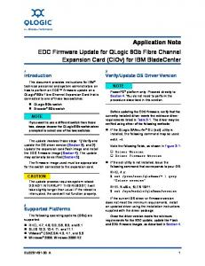 Application Note EDC Firmware Update for QLogic 8Gb Fibre Channel Expansion Card (CIOv) for IBM BladeCenter