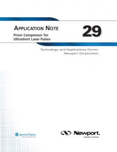 APPLICATION NOTE. Prism Compressor for Ultrashort Laser Pulses. Technology and Applications Center Newport Corporation