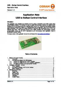 Application Note USB to Ballast Control Interface
