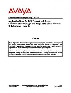 Application Notes for FCS Connect with Avaya Communication Manager and Avaya 3600-Series Wireless IP Telephones - Issue 1.0