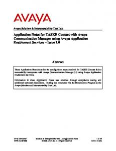 Application Notes for TASKE Contact with Avaya Communication Manager using Avaya Application Enablement Services Issue 1.0