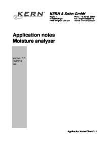 Application notes Moisture analyzer