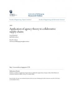Application of agency theory to collaborative supply chains