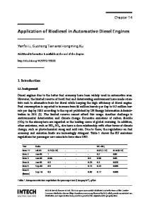 Application of Biodiesel in Automotive Diesel Engines