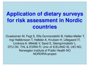 Application of dietary surveys for risk assessment in Nordic countries