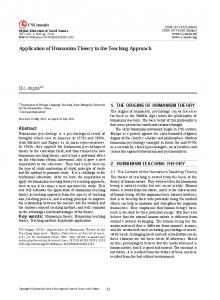 Application of Humanism Theory in the Teaching Approach