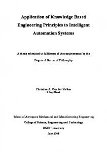 Application of Knowledge Based Engineering Principles to Intelligent Automation Systems