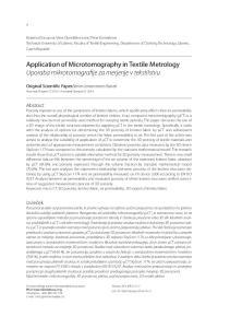 Application of Microtomography in Textile Metrology Uporaba mikrotomografije za merjenje v tekstilstvu