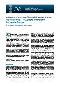 Application of Redecision Therapy in Executive Coaching Workshops: Part 2 - A Qualitative Exploration of Participants Changes