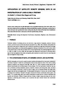 APPLICATION OF SATELLITE REMOTE SENSING DATA IN AN