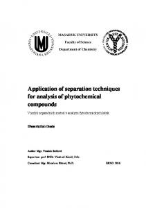 Application of separation techniques for analysis of phytochemical compounds