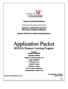 Application Packet BS MLS Distance Learning Program