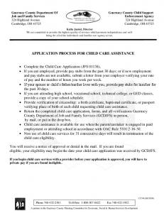 APPLICATION PROCESS FOR CHILD CARE ASSISTANCE