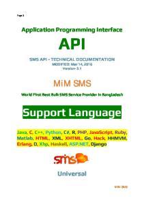 Application Programming Interface API. TECHNICAL DOCUMENTATION MODIFIED: Mar 14, 2016 Version- 3.1