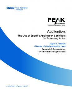 Application: The Use of Specific Application Sprinklers for Protecting Attics