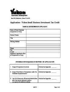 Application Yukon Small Business Investment Tax Credit