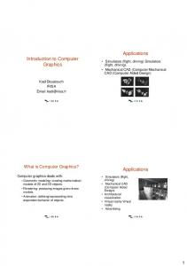 Applications. Introduction to Computer Graphics. Applications. What is Computer Graphics?