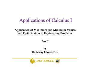Applications of Calculus I