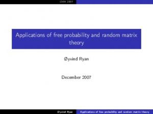 Applications of free probability and random matrix theory