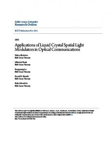 Applications of Liquid Crystal Spatial Light Modulators in Optical Communications
