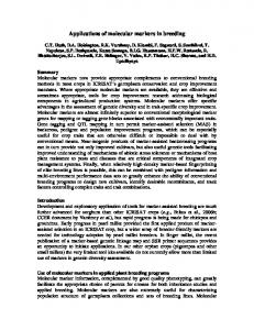 Applications of molecular markers in breeding