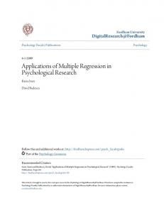 Applications of Multiple Regression in Psychological Research