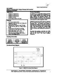 Applications. Product Description. Features. Ordering Information. Functional Block Diagram