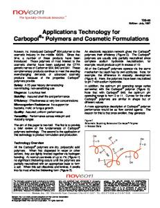 Applications Technology for Carbopol * Polymers and Cosmetic Formulations