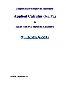 Applied Calculus (2nd. Ed.)