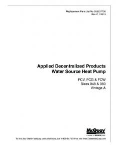 Applied Decentralized Products Water Source Heat Pump