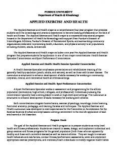 APPLIED EXERCISE AND HEALTH