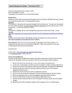 Applied Management Syllabus Fall Semester 2012