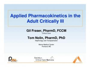 Applied Pharmacokinetics in the Adult Critically Ill