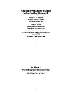 Applied Probability Models in Marketing Research