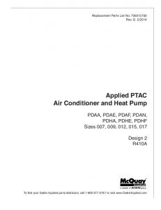 Applied PTAC Air Conditioner and Heat Pump